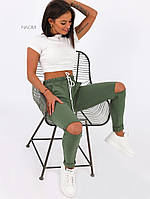 Жіночі стильні брюки з рваними колінами, фото 1