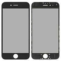 Корпусное стекло дисплея Apple iPhone 6 черный, копия, OCA пленка, рамка, поляризация