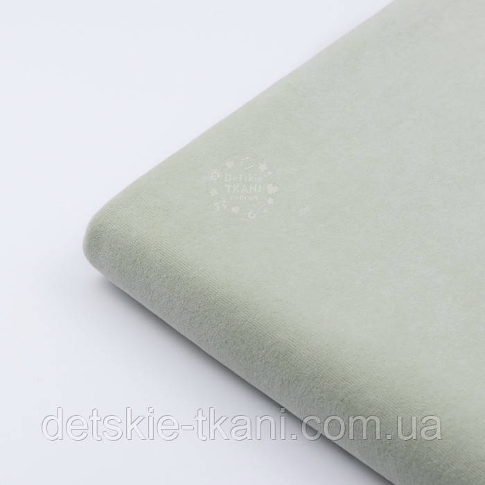Лоскут велюра х/б светло-фисташкового цвета, размер 48*180  см
