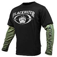 "Футболка с рукавами ""BLACK WATER"" Black & Olive (ВИДЕО)"