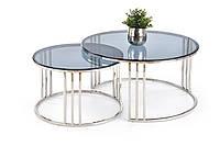 Halmar Mercury комплект журнальных столиков, стекло тонированное/хром