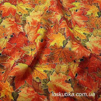 61007 Золотой листопад. 100% хлопок. Ткани новогодние. Ткань с позолотой.
