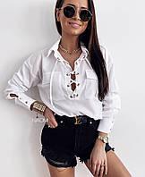 Женская стильная блуза софт со шнуровкой, фото 1
