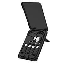Кабель для зарядки 3 в 1 HOCO U86 Lightning, Micro USB, Type-C, чорний, фото 3