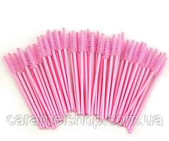 Щеточки для ресниц и бровей, упаковка 50 шт, розовый цвет