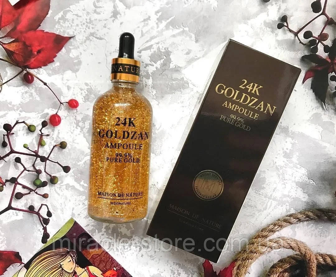 Антивозрастная сыворотка для лица с пептидами и экстрактом золота 24K GoldZan для всех типов кожи 100 мл