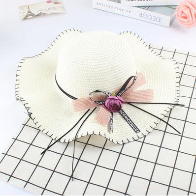 Женская пляжная летняя шляпа Flower sun white