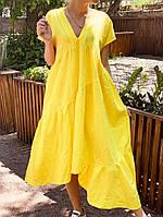 Легкое платье женское льняное свободного кроя с воланами длины Миди (Норма, Батал)