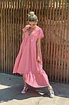 Легкое платье женское льняное свободного кроя с воланами длины Миди (Норма, Батал), фото 2
