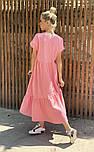 Легкое платье женское льняное свободного кроя с воланами длины Миди (Норма, Батал), фото 3