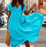 Легкое платье женское льняное свободного кроя с воланами длины Миди (Норма, Батал), фото 4