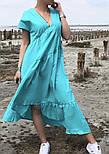 Легкое платье женское льняное свободного кроя с воланами длины Миди (Норма, Батал), фото 6