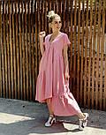 Легкое платье женское льняное свободного кроя с воланами длины Миди (Норма, Батал), фото 7