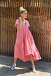 Легкое платье женское льняное свободного кроя с воланами длины Миди (Норма, Батал), фото 10