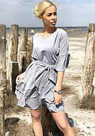 Платье легкое женское летнее свободного кроя с воланами внизу и поясом (Норма)
