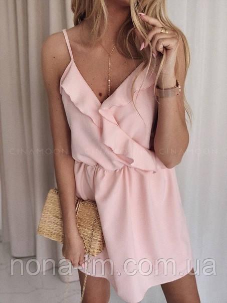 Женское летнее платье с имитацией запаха на бретелях (Норма)