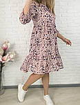 Жіноче ніжна шифонова сукня вільного крою в квітковий принт (Норма і батал), фото 7