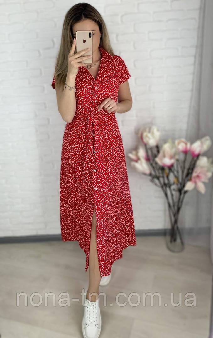 Женское стильное легкое платье из софта длины миди (Норма и батал)