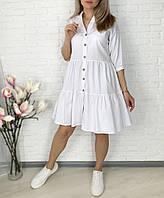 Женское легкое коттоновое платье свободного кроя на пуговицах (Норма и батал)