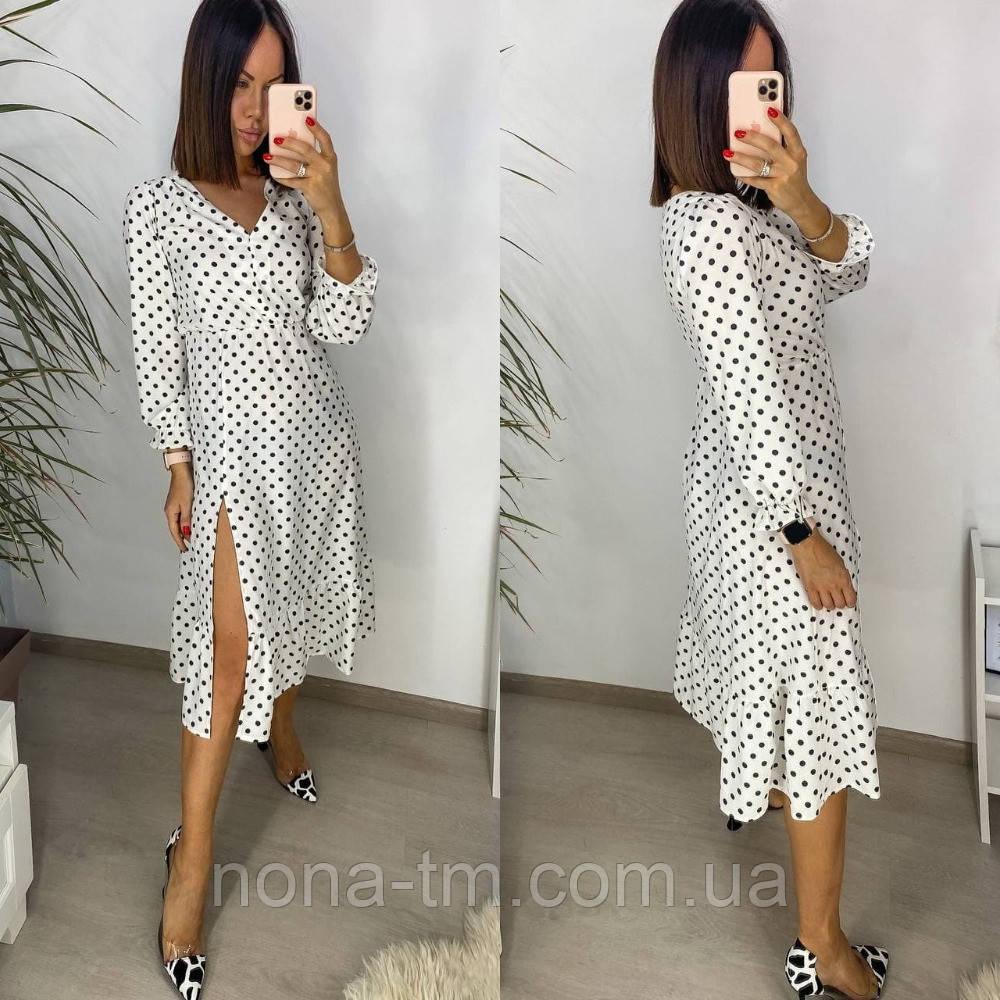 Женское стильное легкое платье из софта длины с разрезом (Норма)