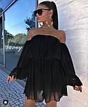 Жіноче ніжне шифонове плаття з відкритими плечима в кольорах (Норма), фото 2