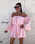 Жіноче ніжне шифонове плаття з відкритими плечима в кольорах (Норма), фото 6