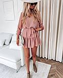 Женское нежное шифоновое платье с поясом в расцветках (Норма), фото 3