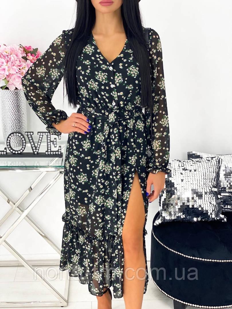 Жіноче видовжене шифонова сукня з вирізом на квітковий принт (Норма)