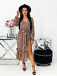 Жіноче видовжене шифонова сукня з вирізом на квітковий принт (Норма), фото 3
