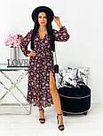 Жіноче видовжене шифонова сукня з вирізом на квітковий принт (Норма), фото 6