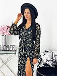 Жіноче видовжене шифонова сукня з вирізом на квітковий принт (Норма), фото 7