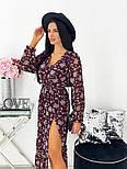 Жіноче видовжене шифонова сукня з вирізом на квітковий принт (Норма), фото 8