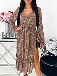 Жіноче видовжене шифонова сукня з вирізом на квітковий принт (Норма), фото 9