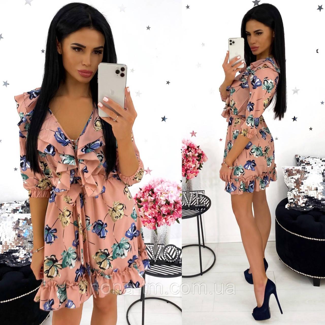 Жіноче стильне міні сукня з квітковим принтом (Норма)