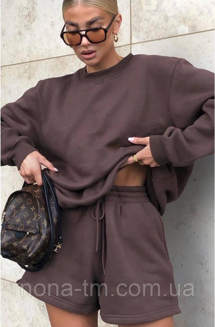 Женский спортивный костюм с шортами и свитшотом (Норма)