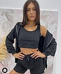 Стильний жіночий спортивний костюм-трійка з шортами (Норма), фото 2