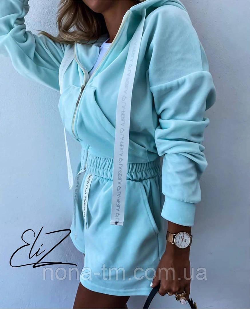 Женский стильный плюшевый костюм-тройка с шортами (Норма)