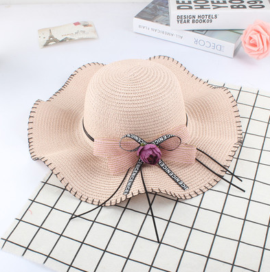 Женская пляжная летняя шляпа Flower sun пудра