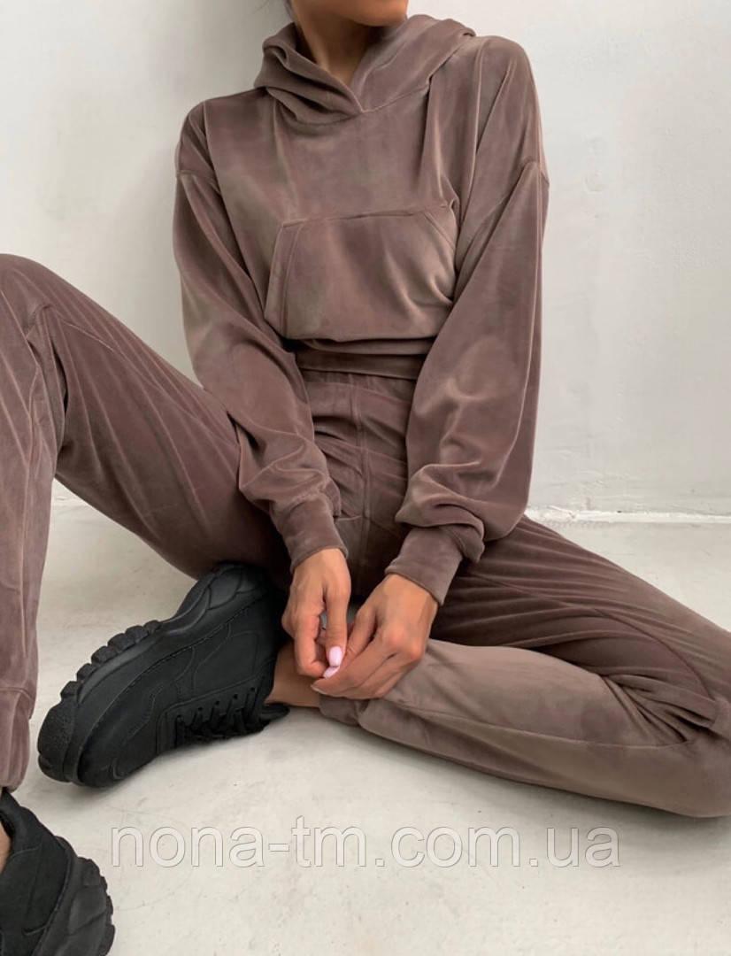 Велюровый женский спортивный костюм с капюшоном (Норма)