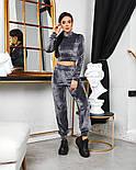 Женский стильный велюровый костюм с укороченной кофтой (Норма), фото 2