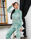 Женский стильный велюровый костюм с укороченной кофтой (Норма), фото 6