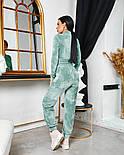 Женский стильный велюровый костюм с укороченной кофтой (Норма), фото 7