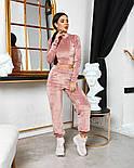 Женский стильный велюровый костюм с укороченной кофтой (Норма), фото 9