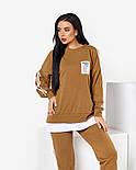 Женский стильный спортивный костюм с имитацией футболки и лампасами (Норма и батал), фото 5