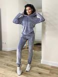 Жіночий стильний велюровий спортивний костюм з капюшоном (Норма і батал), фото 8