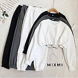 Женский стильный спортивный костюм из трикотажа рубчик с укороченной кофтой (Норма), фото 5