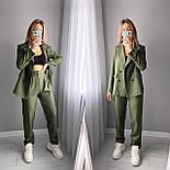 Стильний жіночий класичний костюм-двійка з піджаком і брюками (Норма), фото 2