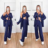 Прогулочный женский брючный костюм-тройка в расцветках (штаны+пиджак+топ)