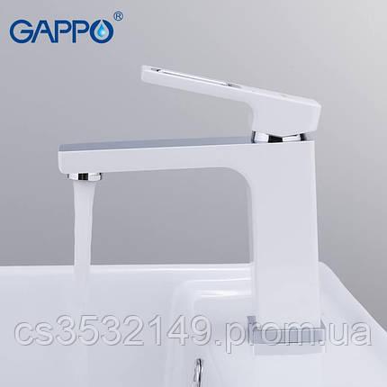 Змішувач для умивальника Gappo FUTURA G1017-8 Білий/Хром, фото 2