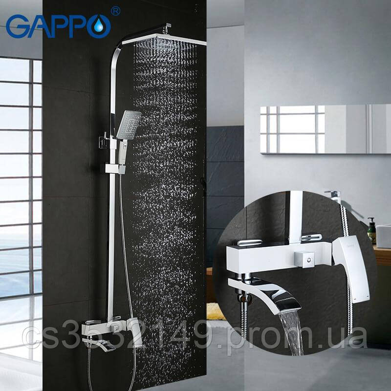 Душевая система / стойка Gappo JACOB G2407-8 Белый/Хром